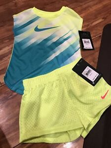 BTS NWT 3T NIKE DRY FIT SHIRT & SHORTS SET toddler Girl NEON school MDO