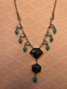 NICKY BUTLER STERLING SILVER TURQUOISE & MOONSTONE 18