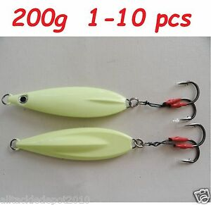 1 to 10 pcs Flat Fall Keel 200g7oz Super Glow Vertical Jigs Saltwater Lures