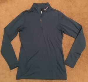 Women's Nike Fit Dry Shirt Size M (8-10) Pullover Blue 14 Zip euc