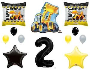 2nd BIRTHDAY CONSTRUCTION Balloons Decoration Supplies Party Boy Dump Truck...