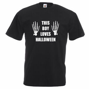 NEW MENS KIDS THIS BOY LOVES HALLOWEEN SKELETON FANCY DRESS T SHIRT AGE 1-6XL