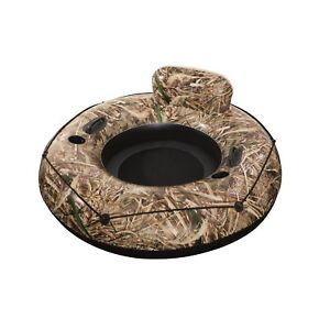 Realtree Max-5 Lake Runner Inflatable Tube Construction Backrest Vinyl Cup Duty