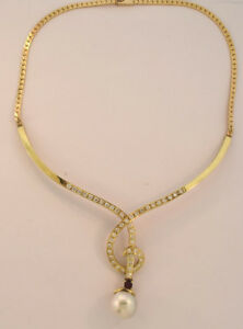 14K YELLOW GOLD PEARL DIAMOND RUBY CHOKER NECKLACE