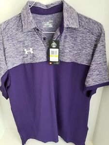 Mens Under Armour Polo PurplePurpleWhite Loose Fit Medium Heat Gear