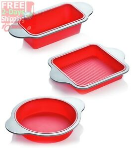 Silicone Bread Pan Set Bakeware Cooking Tool Square Round Cake Mold Steel Frame