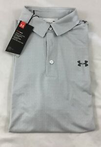 Under Armour MEN'S Athletic Golf Polo Loose Gray White Lines 1302701 Size M $29.99