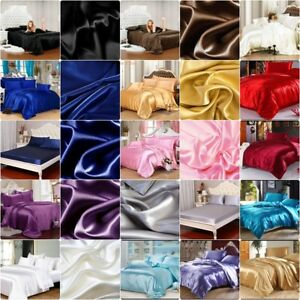800 1000 1200 TC Satin Polyester Silk 1pc Fitted Sheet in US Queen Solid Colors