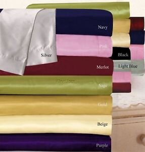 800 1000 1200 TC Satin Polyester Silk 1pc Fitted Sheet US King Size Solid Colors