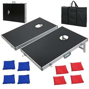 CornHole Bean Bag Toss Game Set Aluminum Frame Portable Design W Carrying Case
