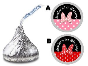 MINNIE MOUSE CUSTOM HERSHEY KISS KISSES LABELS STICKERS BIRTHDAY PARTY FAVORS #2