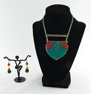 Necklace Earrings Set Egyptian Design Handcrafted Carnelian Malachit