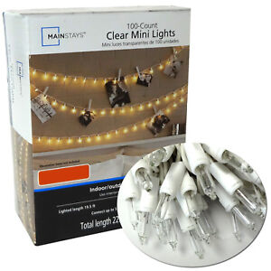 100 Clear Mini Lights Bulbs Christmas Wedding Tree String Outdoor White Wire