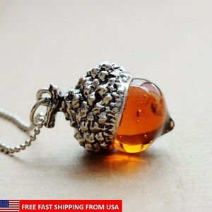 Glaze Glass Acorn Necklace Pendant Antique Silver with Long Chain - Ships Fast!