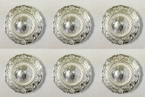 Set of 6 WESTERN HORSE SADDLE TACK BRIGHT SILVER ENGRAVED ROPE EDGE CONCHOS 1