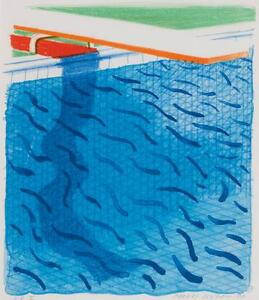 DAVID HOCKNEY  Pool Made with Paper and Blue Ink for Book (M.C.A.T. 234)