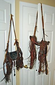 Rare Antique 19th Century Powder Horn & Shot Bag Hand Tooled Leather Pouch