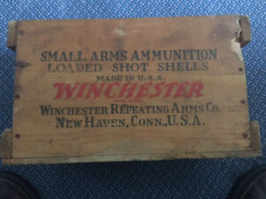 Early Vintage Winchester Wood 12 Gauge Shot Gun Shell Ammo Box Shipping Crate