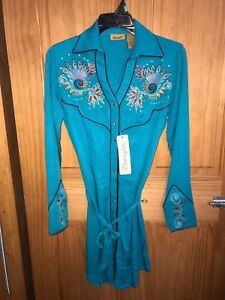 WRANGLER Women's Turquoise Button Down Snap Above Knee Dress LWD101Q NWT