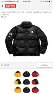 Supreme X The North Face® Leather Nuptse Jacket Black Medium FW17