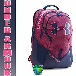 Under Armour Storm Big Logo IV Backpack Laptop School Bag Midnight NavyPink Sky