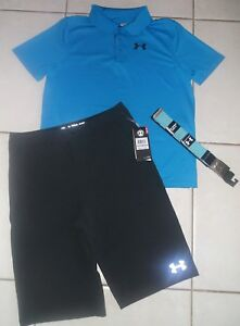 UNDER ARMOUR BOY'S SIZE XL SIZE 18 GOLF POLO SHORTS AND BELT SET OUTFIT NWT!