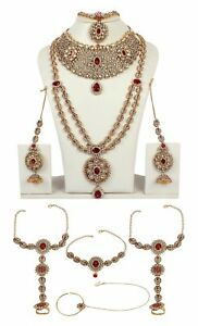 Necklace Indian Jewelry Gold Plated Bollywood Fashion Bridal Wedding Earring Set