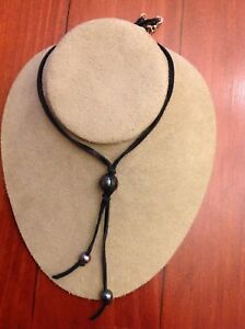 Chan Luu Leather Peacock Blue Pearl Black Leather & Pearl Bolo Necklace RARE