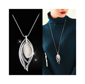 Nataliya Silver Angle Eye Crystal Pearl Long Necklace for Women $11.99