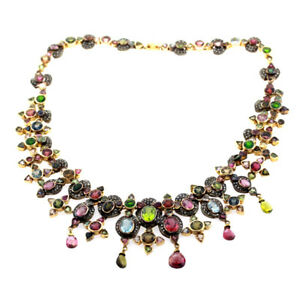 73.64ct Tourmaline Diamond Fashion Necklace 14k Gold 925 Sterling Silver Jewelry