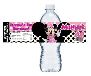 10 PINK MINNIE MOUSE CUSTOM BIRTHDAY PARTY FAVORS WATER BOTTLE LABELS WRAPPERS