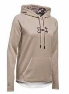 Under Armour Hoodie Womens Size L Beige Storm Icon Caliber Camo Logo