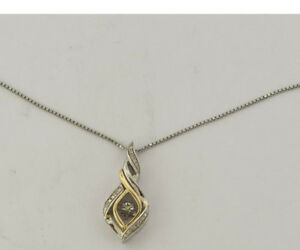 STERLING SILVER 10 K YELLOW GOLD FLOATING DANCING DIAMOND PENDANT NECKLACE