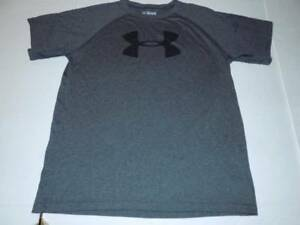 under armour sports shirt dry fit boys size XL 18 gray ss top