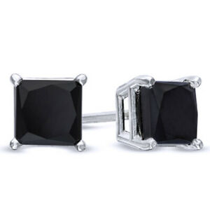 1 ct Square Princess Cut Black Diamond Solitaire Stud Earrings in 10K White Gold