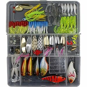 151pcs Fishing Lure Set Including Frog Lures Spoon Soft Plastic Popper Crank and