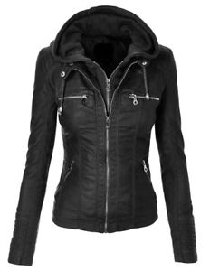 Latest Women's Black Biker Motorcycle Stylish Real Leather Jacket -Detach Hoodie