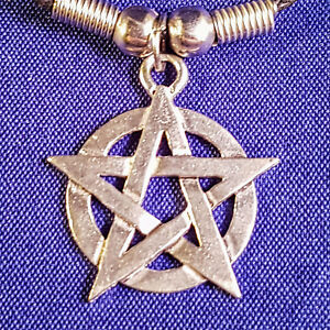 Pentagram Star Pendant with Black Cord Choker Necklace Wiccan Pagan Gothic Gift