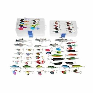 Dr.Fish 60 Fishing Lure Spinners Baits Assortment Loaded in 5 Lure Tackle Box...