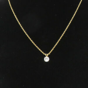 NYJEWEL Brand New 14k Yellow Gold Solitaire 1ct Diamond Pendant Necklace