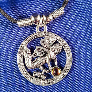 Horoscope pendant necklace on black-wax cord choker Astrology star signs gift