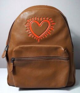 Coach X Keith Haring Charles Pebbled Leather Saddle Brown Backpack 11775