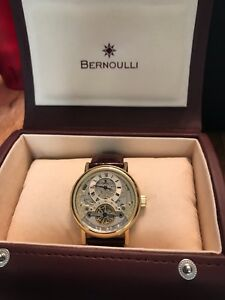 Bernoulli watch automatic 60940-841 stainless steel and brown leather bracelet