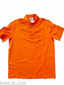 NEW Authentic HERMES Mens Basic Casual Sport Golf Polo Shirt Orange XL LARGE