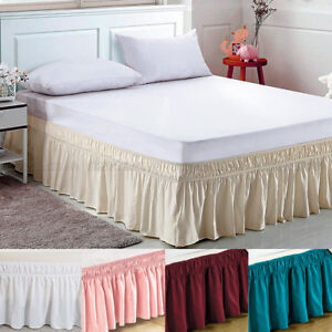 Elastic Bed Skirt Dust Ruffle Easy Fit Wrap Around Twin Full Queen King Size $12.99