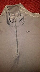 NIKE FIT DRY MEN'S PULLOVER SIZE LARGE Gray 34 ZIP SIDE POCKET POLYESTER SHIRT