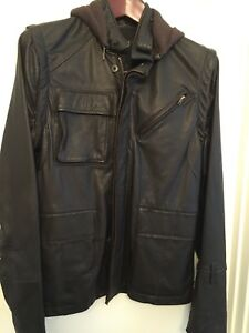 Nice Collective Brown leather jacket S Removable sleevesCashmere hoody Freedom