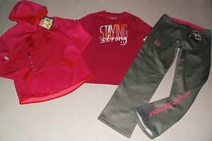UNDER ARMOUR GIRL'S SZ LARGE HOODIE SHIRT & PANTS SET OUTFIT CLOTHING LOT NWT!