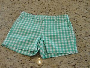 NEW Merona White and Aqua Green Checkered Chino Shorts 5 Inseam Size 6 8 10 14