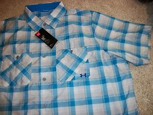 UNDER ARMOUR New NWT Mens Dress Shirt Button Up Down Bright Blue White Loose Fit